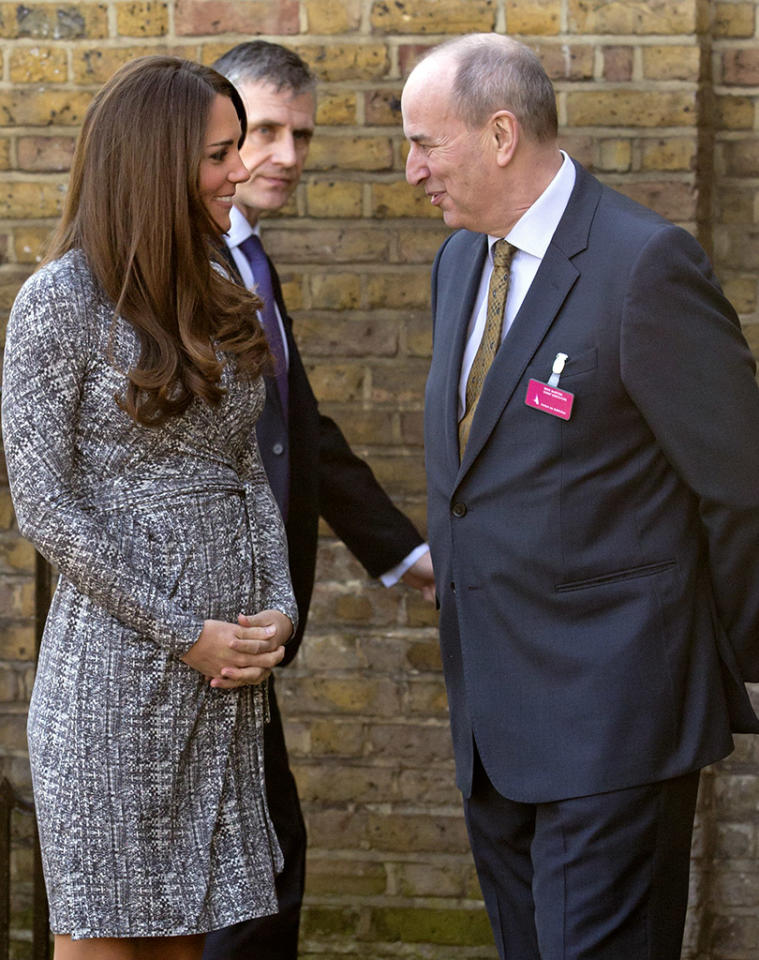 LONDON, UNITED KINGDOM - FEBRUARY 19: (EMBARGOED FOR PUBLICATION IN UK NEWSPAPERS UNTIL 48 HOURS AFTER CREATE DATE AND TIME) Catherine, Duchess of Cambridge, in her role as Patron of Action on Addiction, is greeted by Nick Barton (Chief Executive of Action on Addiction) as she arrives for a visit to Hope House, a residential treatment centre, on February 19, 2013 in London, England.  (Photo by Indigo/Getty Images)