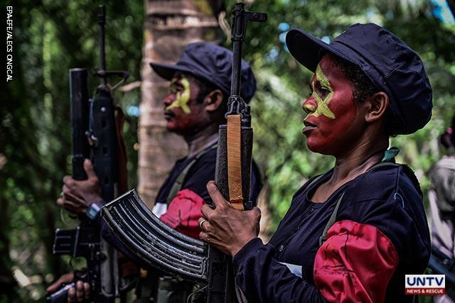 Fighters of the New People's Army-Melito Glor Command (NPA-MGC) gather at an undisclosed location in the mountains of Sierra Madre in Quezon Province, south of Manila, Philippines, 26 December 2018, to celebrate the 50th year founding of the Communist Party of the Philippines (issued 27 December 2018). EPA-EFE/<br> ALECS ONGCAL