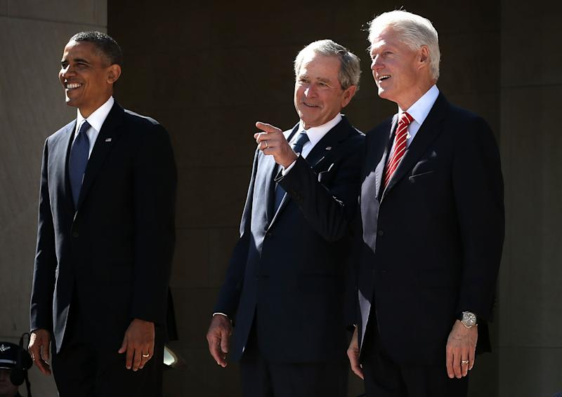 DALLAS, TX - APRIL 25:  (L-R) U.S. President Barack Obama, former President George W. Bush, and former President Bill Clinton attend the opening ceremony of the George W. Bush Presidential Center April 25, 2013 in Dallas, Texas. The Bush library, which is located on the campus of Southern Methodist University, with more than 70 million pages of paper records, 43,000 artifacts, 200 million emails and four million digital photographs, will be opened to the public on May 1, 2013. The library is the 13th presidential library in the National Archives and Records Administration system.  (Photo by Alex Wong/Getty Images)