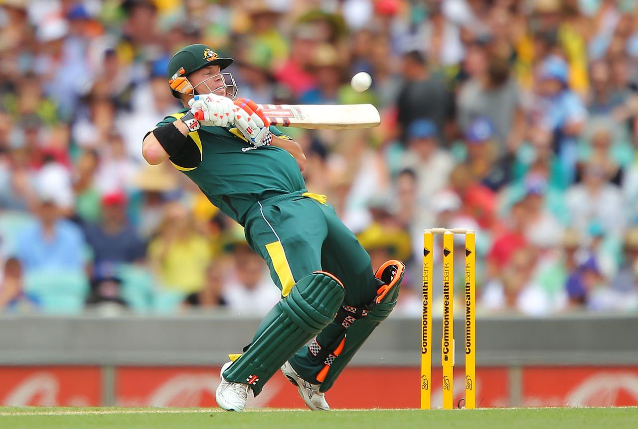SYDNEY, AUSTRALIA - JANUARY 20:  David Warner of Australia bats during game four of the Commonwealth Bank one day international series between Australia and Sri Lanka at Sydney Cricket Ground on January 20, 2013 in Sydney, Australia.  (Photo by Brendon Thorne/Getty Images)