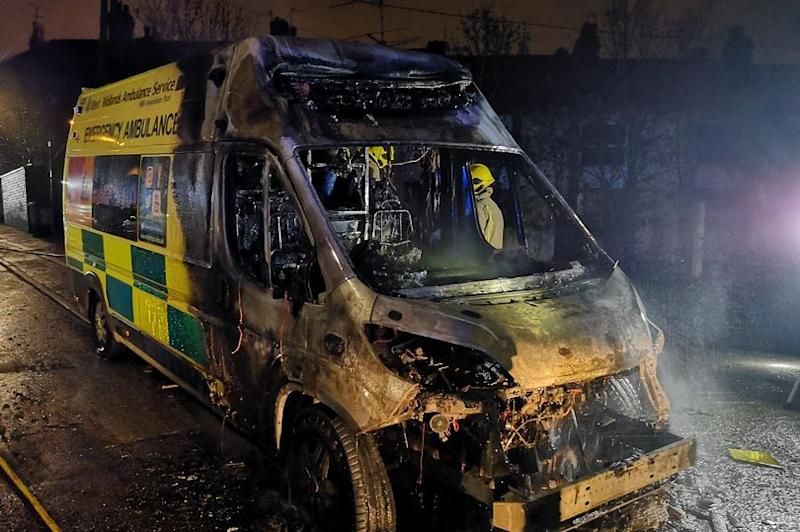 The West Midlands Ambulance Service vehicle was ravaged by fire as crew treated a patient in their home (West Midlands Ambulance Service)