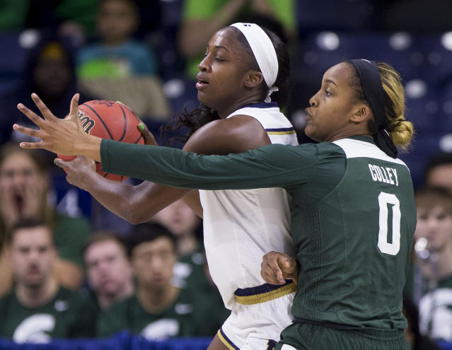 Notre Dame's Jackie Young, left, looks to pass as Michigan State's Shay Colley (0) defends during a second-round game in the NCAA women's college basketball tournament in South Bend, Ind., Monday, March 25, 2019. (AP Photo/Robert Franklin)