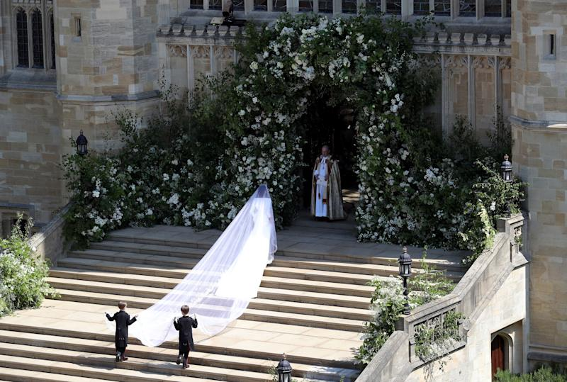 A shot of Meghan Markle's 16-foot veil as she walks into St. George's Chapel on May 19.  (ANDREW MATTHEWS via Getty Images)