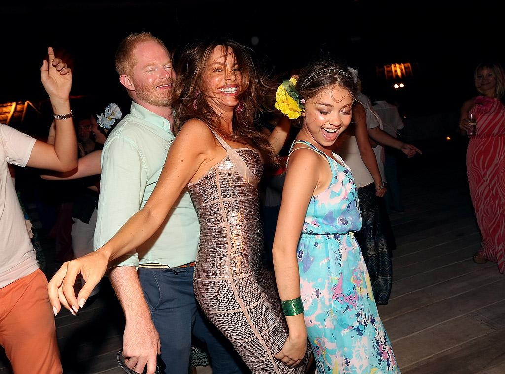 "Lordy, lordy, look who's 40! ""Modern Family"" hot mama Sofia Vergara boggied down on the big milestone with plenty of family members and pals, including some of her castmates Jesse Tyler Ferguson and Sarah Hyland (pictured here) while vacationing in Playa del Carmen, Mexico, this week. Reports surfaced that her boyfriend, Florida politician Nick Loeb, popped the question during the getaway, but Sofia's rep has denied the two are engaged. (7/10/2012)"