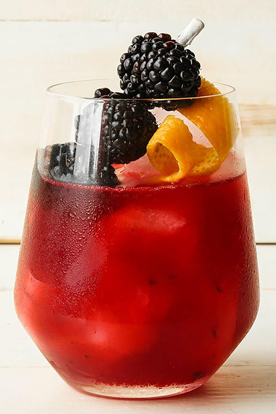 "<p><strong>Ingredients:</strong><br></p><p>4 Blackberries, plus more for garnish if desired</p><p>3⁄4 oz Raspberry or blackberry liqueur</p><p>1⁄2 oz Agave nectar</p><p>1 1⁄2 oz Cazadores blanco tequila </p><p>3⁄4 oz Fresh lime juice</p><p><strong>Directions: </strong></p><p>Combine the blackberries, berry liqueur, and agave nectar in a shaker and muddle. Add the tequila, the lime juice and ice, and shake well. Strain into a stemless wine glass, and garnish with 3 skewered blackberries and an orange peel.</p><p><em>Courtesy of Manny Hinojosa, global brand ambassador for <a href=""https://www.cazadores.com/"" rel=""nofollow noopener"" target=""_blank"" data-ylk=""slk:Tequila CAZADORES"" class=""link rapid-noclick-resp"">Tequila CAZADORES</a></em></p>"