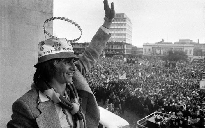 'Halo' wearing Stokes waves to a vast crowd from the balcony of Southampton Civic Centre after the FA Cup triumph - PA
