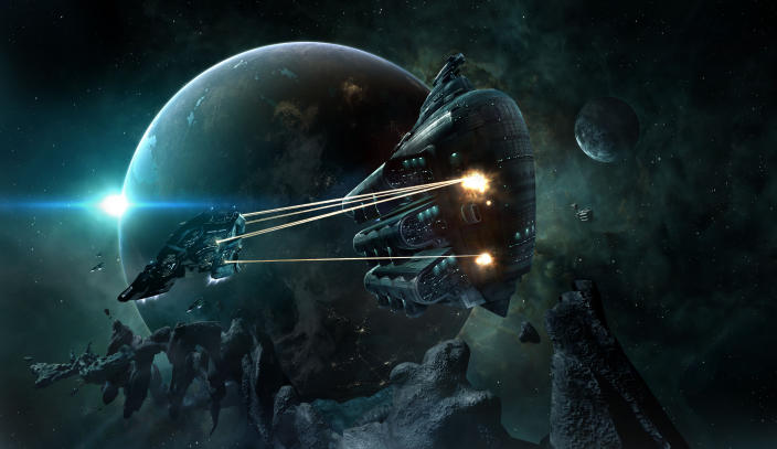 """This image provided by CCP Games shows a scene from the video game, """"EVE Online."""" An unpaid bill in the online role-playing game """"EVE Online"""" has led to a virtual space battle involving thousands of players with costly losses in real-world money. The siege on Monday, Jan. 27, 2014, marks the bloodiest battle in the game's 10-year history. (AP Photo/CCP Games)"""