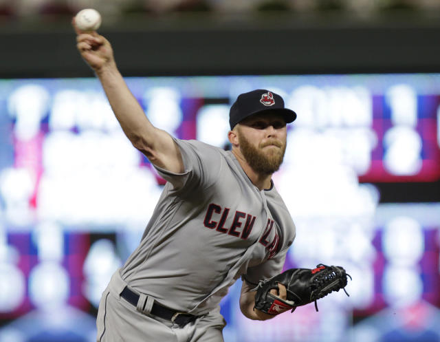 Cleveland Indians Cody Allen throws to a Minnesota Twins batter during the ninth inning of a baseball game Tuesday, July 31, 2018, in Minneapolis. The Indians defeated the Twins 6-2. (AP Photo/Andy Clayton-King)