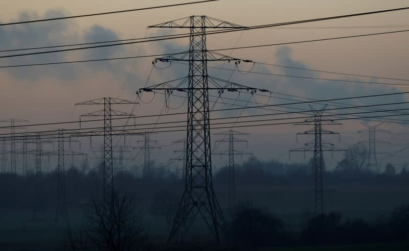 FILE PHOTO: Smog is seen near transmission towers in Bedzin