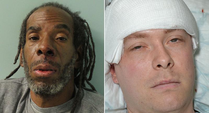 Rowdan, left, was cleared of the attempted murder after he hacked at PC Outten, right.