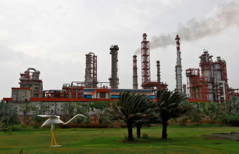 FILE PHOTO: An oil refinery of Essar Oil, which runs India's second biggest private sector refinery, is pictured in Vadinar