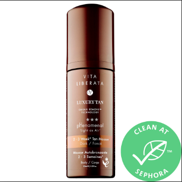 "<p>Show all those people who winter in Tulum that there's more than one way to get a glow. This mousse made with organic ingredients builds color to two to three weeks — all without the typical self-tanner stench.</p> <br> <br> <strong>Vita Liberata</strong> pHenomenal 2-3 Week Tan Mousse, $27, available at <a href=""https://www.sephora.com/product/phenomenal-2-3-week-tan-mousse-P379476#locklink"" rel=""nofollow noopener"" target=""_blank"" data-ylk=""slk:Sephora"" class=""link rapid-noclick-resp"">Sephora</a>"