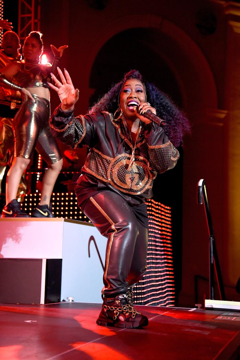 Missy Elliott performs her chart-topping hits at the Yellow Ball, hosted by American Express and Pharrell Williams, at the Brooklyn Museum on September 10, 2018, in New York, New York.
