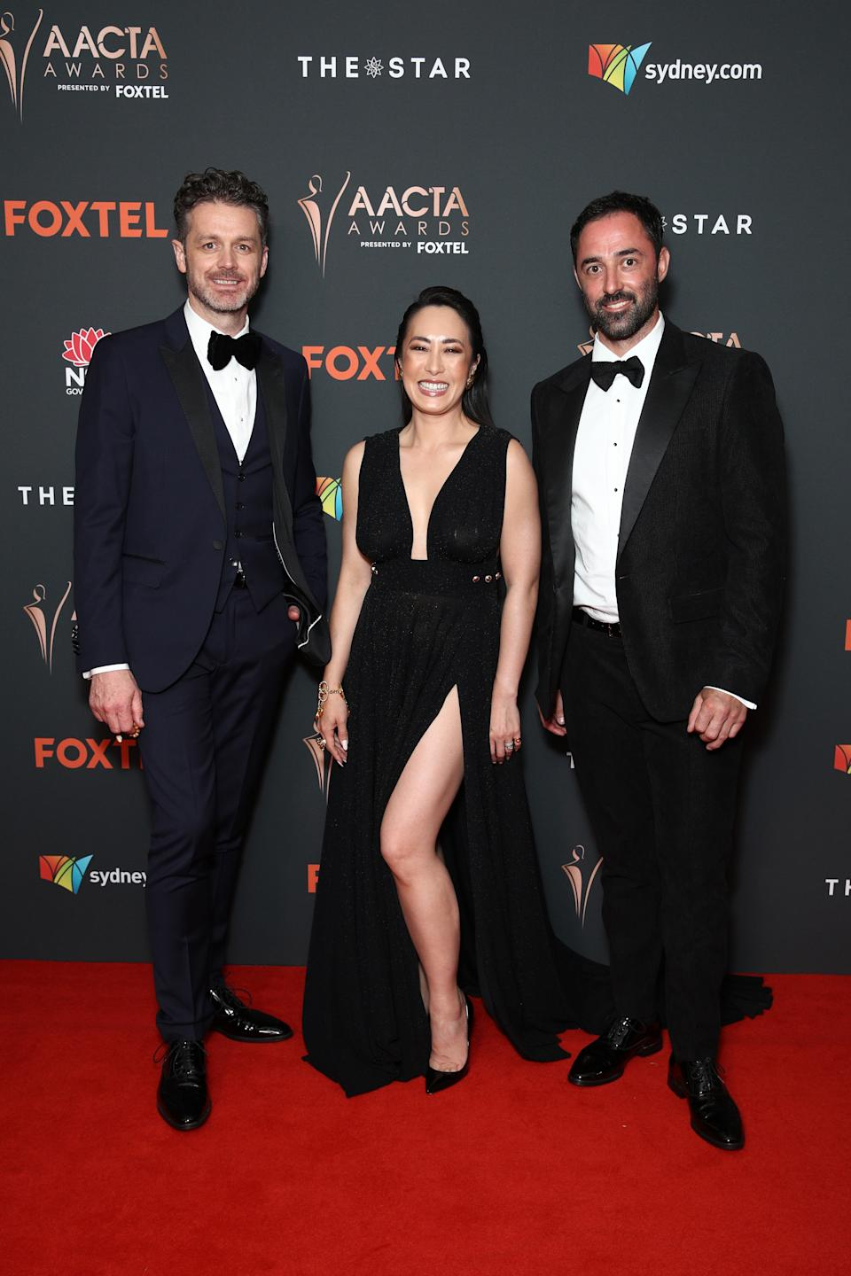 Jock Zonfrillo, Melissa Leong and Andy Allen  arrives ahead of the 2020 AACTA Awards presented by Foxtel at The Star on November 30, 2020