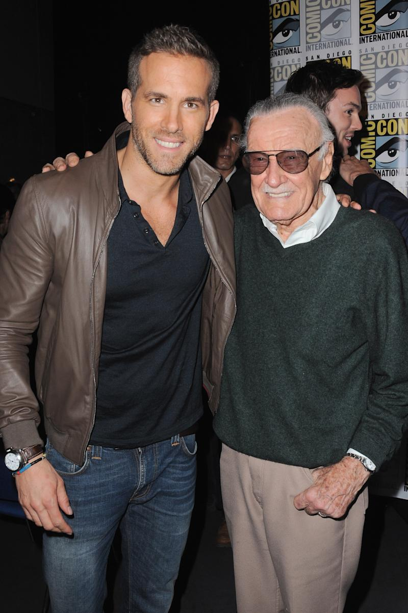 SAN DIEGO, CA - JULY 11: Actor Ryan Reynolds (L) and Stan Lee attend the 20th Century FOX panel during Comic-Con International 2015 at the San Diego Convention Center on July 11, 2015 in San Diego, California. (Photo by Albert L. Ortega/Getty Images)