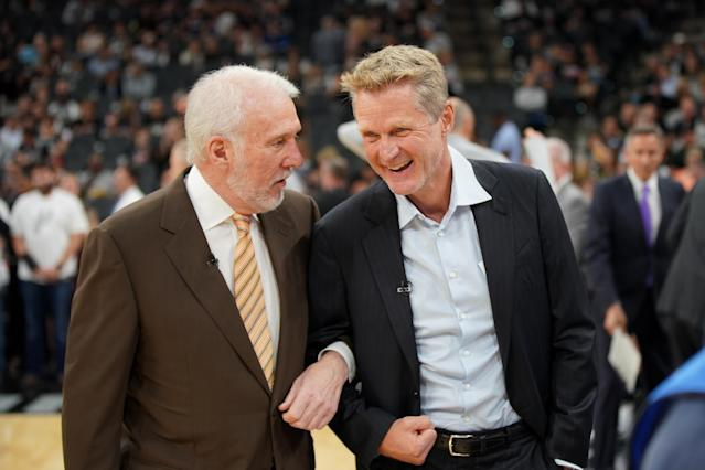 Steve Kerr has been influenced by his time around Gregg Popovich and the Spurs. (Getty)