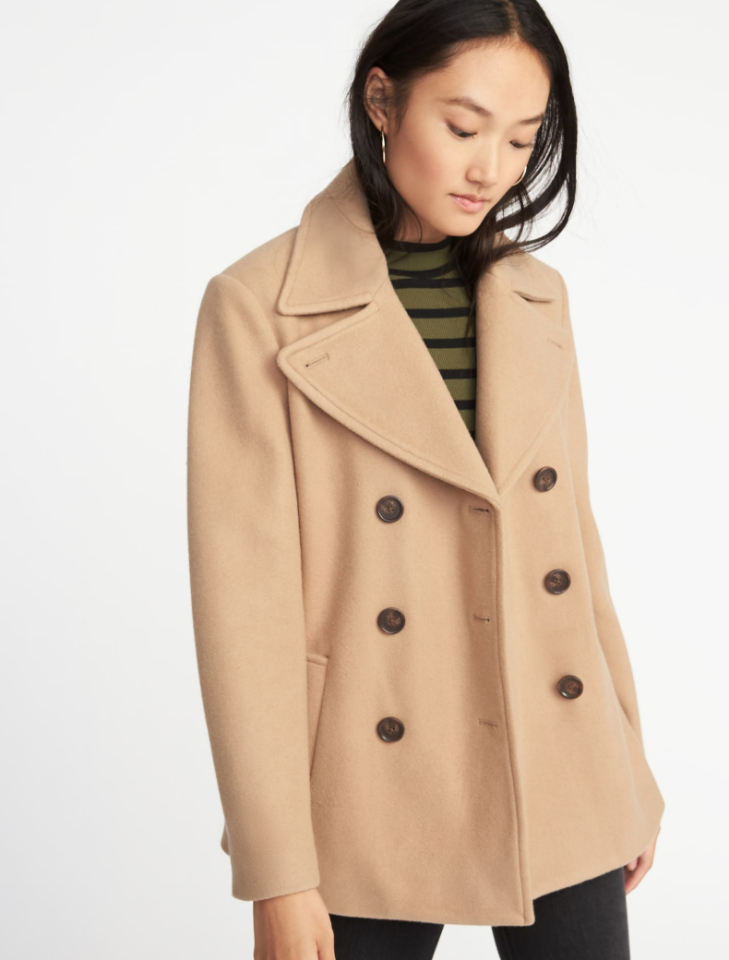 "<p>One of the best cold-weather essentials you can add to your closet is a pea coat. Take it with you while you travel and wear it to work or whenever you're visiting family throughout the holiday season. Its classic and tailored style will pull your look together with minimal effort.<br /><a rel=""nofollow"" href=""https://fave.co/2Q4JfWs""><strong>Shop it</strong></a>: $30 (was $60), <a rel=""nofollow"" href=""https://fave.co/2Q4JfWs"">oldnavy.com</a> </p>"