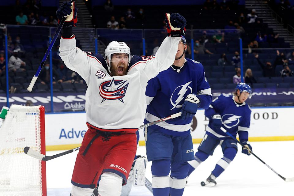 April 10: The Tampa Bay Lightning acquired defenseman David Savard from the Columbus Blue Jackets in a three-team trade involving the Detroit Red Wings.