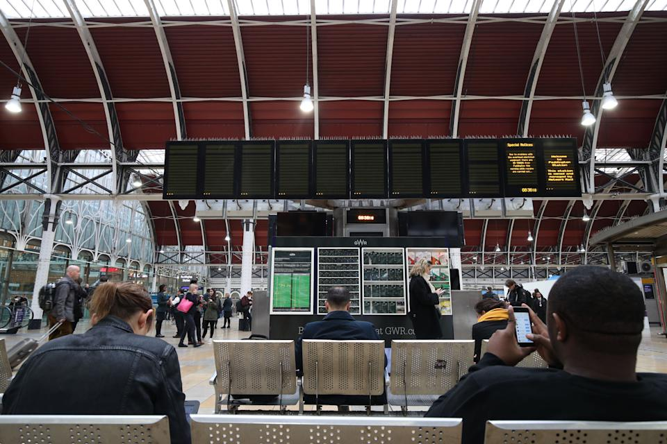 "An empty departure board at Paddington Station, London as trains are unable to run between the railway hub and Slough or Heathrow Airport after overhead electric wires were ""severely"" damaged at Ealing on Tuesday night."