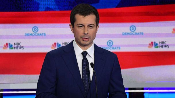 PHOTO: Pete Buttigieg participates in the second night of the first 2020 democratic presidential debate at the Adrienne Arsht Center for the Performing Arts in Miami, June 27, 2019. (Saul Loeb/AFP/Getty Images)