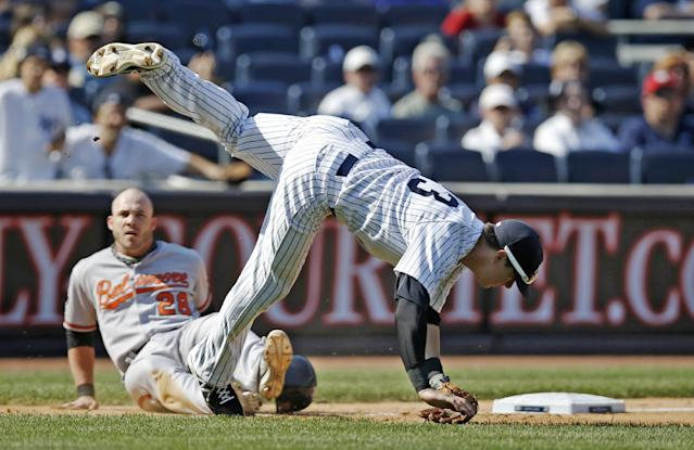 New York Yankees third baseman Kelly Johnson is upended after falling over Baltimore Orioles runner Steve Pearce (28), while throwing to first trying to complete a double play on Nelson Cruz's eighth-inning groundout in a baseball game in New York, Sunday, June 22, 2014. Kelly was charged with an error when he overthrew first base. (AP Photo/Kathy Willens)