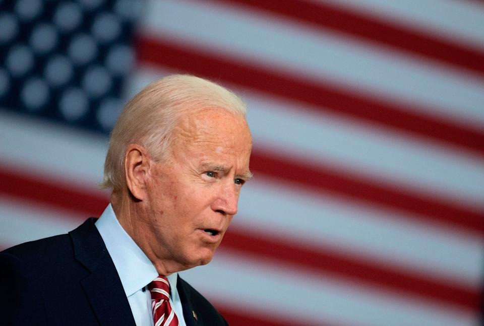Democratic presidential candidate Joe Biden speaks in Tampa, Florida, on Sept. 15, 2020, during a roundtable discussion with Tampa-area veterans and military families. (Photo: JIM WATSON via Getty Images)