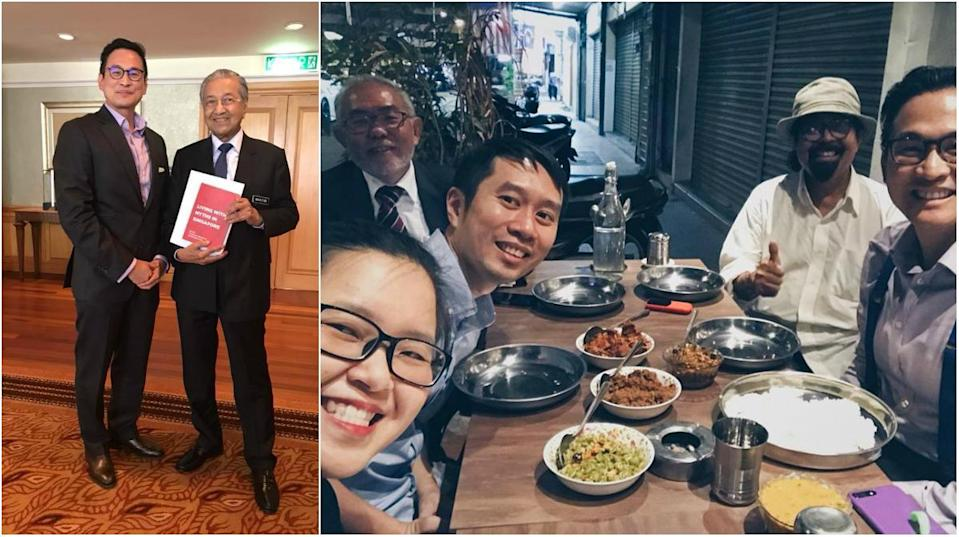 <span>Historian Thum Ping Tjin (left) with Malaysian Prime Minister Mahathir Mohamad on 30 August, 2018. Activist Kirsten Han (centre, in specs), activist Jolovan Wham (in blue) and Thum (right) at a gathering after the meeting on the same day. (</span>PHOTOS: Pingtjin Thum,Kristen Han/Facebook)