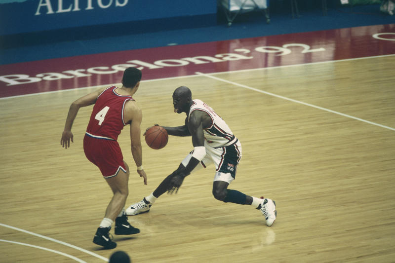 Michael Jordan from USA during the Final of the 1992 Olympics against Croatia. | Location: Barcelona, Spain. (Photo by Dimitri Iundt/Corbis/VCG via Getty Images)