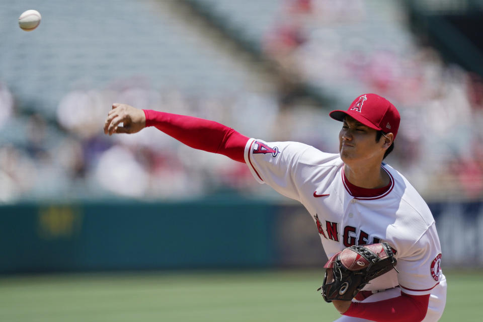 Los Angeles Angels starting pitcher Shohei Ohtani throws to the plate during the first inning of a baseball game against the San Francisco Giants Wednesday, June 23, 2021, in Anaheim, Calif. (AP Photo/Mark J. Terrill)