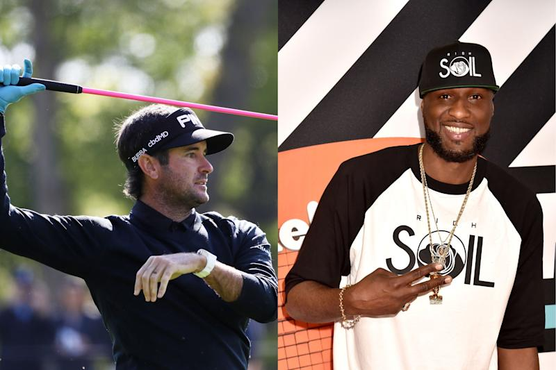 Pro golfer Bubba Watson (L) and former NBA player Lamar Odom. (Credits: Jamie Squire/Getty Images; Kyle Terada/USA TODAY)