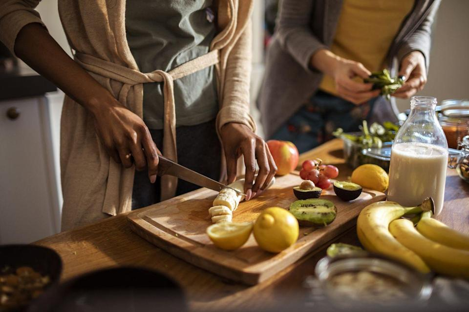 <p>Knowing how to create a nutritionally balanced meals is key to adopting good-for-you eating habits that will last. To get you started, here's some advice from Stefani Sassos, the <em>Good Housekeeping</em> Institute's Registered Dietitian Nutritionist.</p><p><strong>Build a better plate </strong>by filling it half with vegetables, one quarter with whole grains or fruit, and one quarter with lean protein for most meals. Need inspiration? Tape our Live Longer & Stronger shopping list, on the next slide, to your fridge for menu help.</p><p><strong>Cook with olive oil or avocado oil </strong>instead of butter, and flavor your food sans salt by experimenting with things like lemon or lime juice, vinegar, spices and herbs, low-sodium tomato sauce, and lots of aromatics such as garlic, ginger, onions, and shallots.</p><p>When baking (or in your coffee), <strong>use just a little of a natural sweetener </strong>such as coconut sugar, honey, maple syrup, or dates. If you choose to use an artificial sweetener, stick to stevia or monk fruit and limit your consumption to no more than two packets per day.</p>