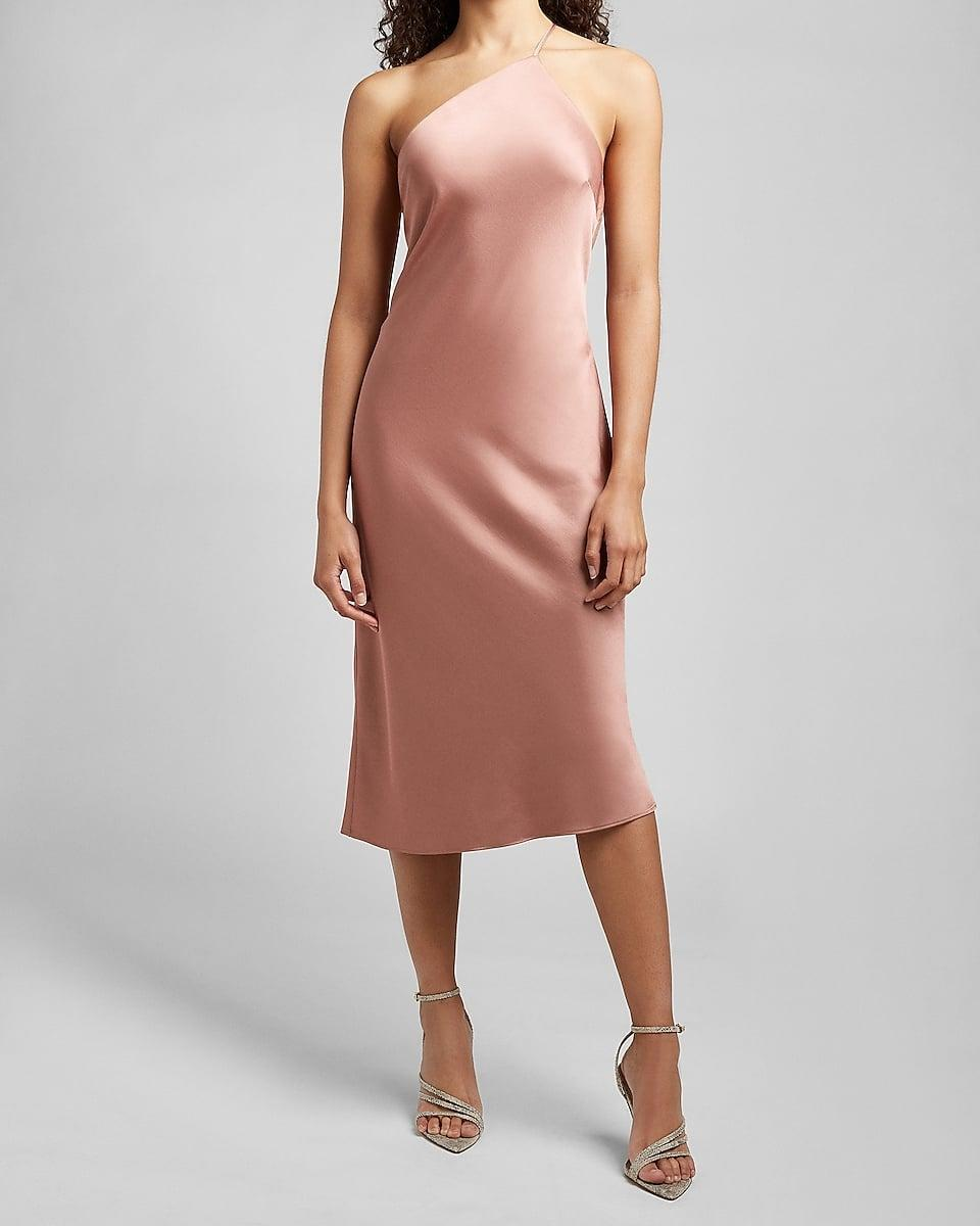<p>Get date-night ready in this sultry <span>Satin Cross Back One Shoulder Slip Dress</span> ($98).</p>
