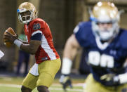 <p>On the rise: Brandon Wimbush, Notre Dame — Wimbush enters the season as the undisputed starter at Notre Dame. The sophomore has plenty of weapons at his disposal and an offensive line that returns four starters. Notre Dame may not be a 10-win team in 2017, but Wimbush should help avoid another 4-8 season. (Photo credit: AP) </p>