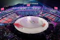 <p>The Olympics rings during the opening ceremony of the Pyeongchang 2018 Winter Olympic Games at the Pyeongchang Stadium on February 9, 2018. (Photo credit FRANCOIS-XAVIER MARIT/AFP/Getty Images) </p>