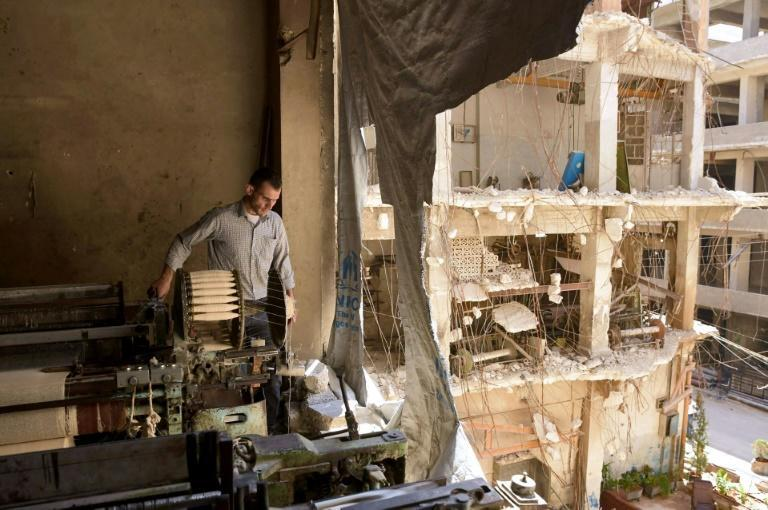 A partially destroyed workshop is seen in Syria's northern city of Aleppo. Fighting ended almost five years ago in the country's former economic hub, but limited electricity supply has hampered a full return to work in its manufacturing neighbourhoods (AFP/-)