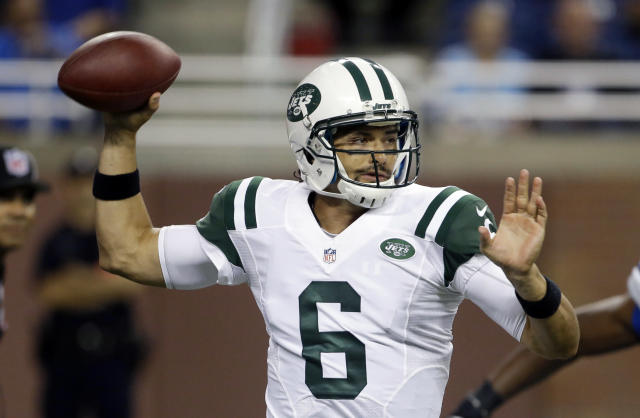 New York Jets quarterback Mark Sanchez throws during the first quarter of a preseason NFL football game against the Detroit Lions at Ford Field in Detroit, Friday, Aug. 9, 2013. (AP Photo/Carlos Osorio)