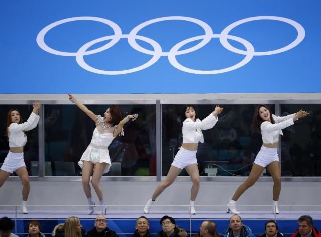Ice Hockey - Pyeongchang 2018 Winter Olympics - Men Final Match - Olympic Athletes from Russia v Germany - Gangneung Hockey Centre, Gangneung, South Korea - February 25, 2018 - Cheerleaders before the game. REUTERS/Brian Snyder