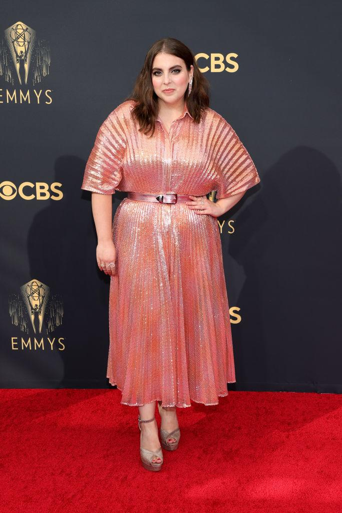 """<p>The """"Impeachment: American Crime Story"""" star shined in a metallic look by Brandon Maxwell.<em> (Image via Getty Images</em></p>"""