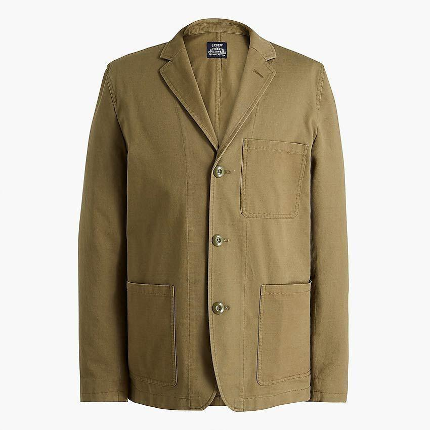 "<p><strong>J.Crew Factory</strong></p><p>factory.jcrew.com</p><p><strong>$79.50</strong></p><p><a href=""https://go.redirectingat.com?id=74968X1596630&url=https%3A%2F%2Ffactory.jcrew.com%2Fp%2Fmens_clothing%2Fnew_arrivals%2Fjackets_outerwear%2Fcotton-chore-blazer%2FAV639%3Fcolor_name%3Dfrosty-olive&sref=https%3A%2F%2Fwww.esquire.com%2Fstyle%2Fmens-fashion%2Fg35650917%2Fj-crew-factory-sale-february-2021%2F"" rel=""nofollow noopener"" target=""_blank"" data-ylk=""slk:Buy"" class=""link rapid-noclick-resp"">Buy</a></p>"