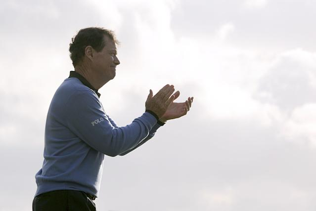 """<h1 class=""""title"""">Golf - The Open Championship 2009 - Round Four - Turnberry Golf Club</h1> <div class=""""caption""""> USA's Tom Watson applauds as Stewart Cink recieves the Open Trophy after winning the Open on the fourth day of the Open Championship at Turnberry Golf Club. (Photo by Rebecca Naden/PA Images via Getty Images) </div> <cite class=""""credit"""">Rebecca Naden - PA Images</cite>"""