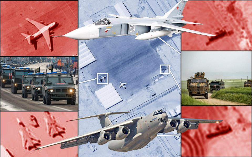 Declassified satellite images of Al Khadim airbase in Libya, showing regular Russian military equipment being used by the Wagner Group