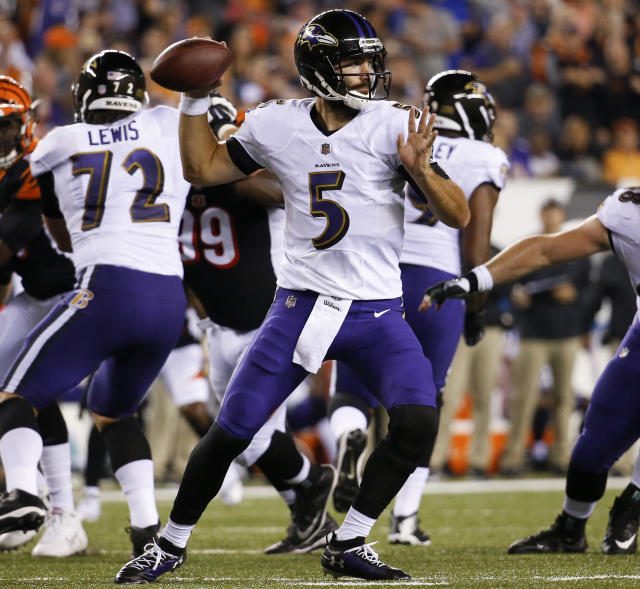 FILE - In this Sept. 13, 2018, file photo, Baltimore Ravens quarterback Joe Flacco passes in the first half of an NFL football game against the Cincinnati Bengals, in Cincinnati. Flacco struggled in the first half of a 34-23 loss to Cincinnati last week, but he finished with 376 yards passing. The Ravens take on the Denver Broncos in Baltimore on Sunday. (AP Photo/Frank Victores, File)