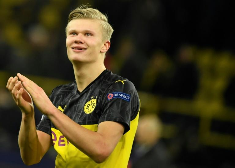 Dortmund's Norwegian forward Erling Braut Haaland is now the Champions League's joint top-scorer this season with 10 goals in Europe. (AFP Photo/Ina Fassbender)