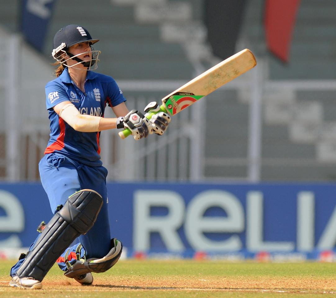 MUMBAI, INDIA - FEBRUARY 08:  Lydia Greenway of England bats during the super six match  between England and Australia held at the CCI (Cricket Club of India)  on February 8, 2013 in Mumbai, India.  (Photo by Pal Pillai/Getty Images)