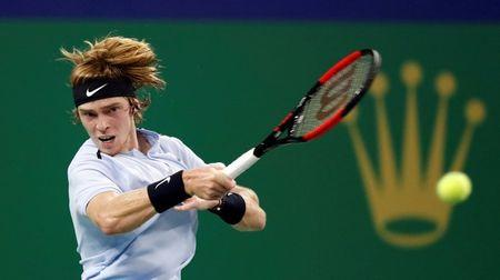 FILE PHOTO: Tennis - Shanghai Masters tennis tournament - Shanghai, China - October 10, 2017 - Andrey Rublev of Russia in action against Juan Martin del Potro of Argentina. REUTERS/Aly Song