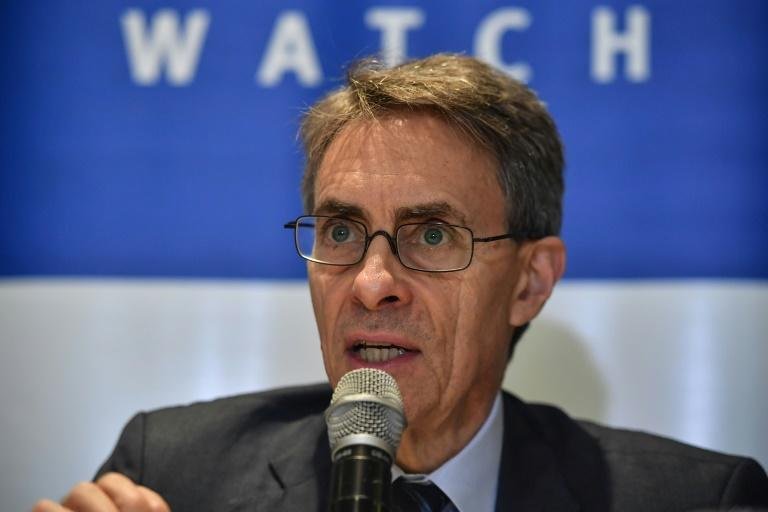 Human Rights Watch chief Kenneth Roth -- pictured in October 2019 -- said he was turned back by authorities at Hong Kong's airport