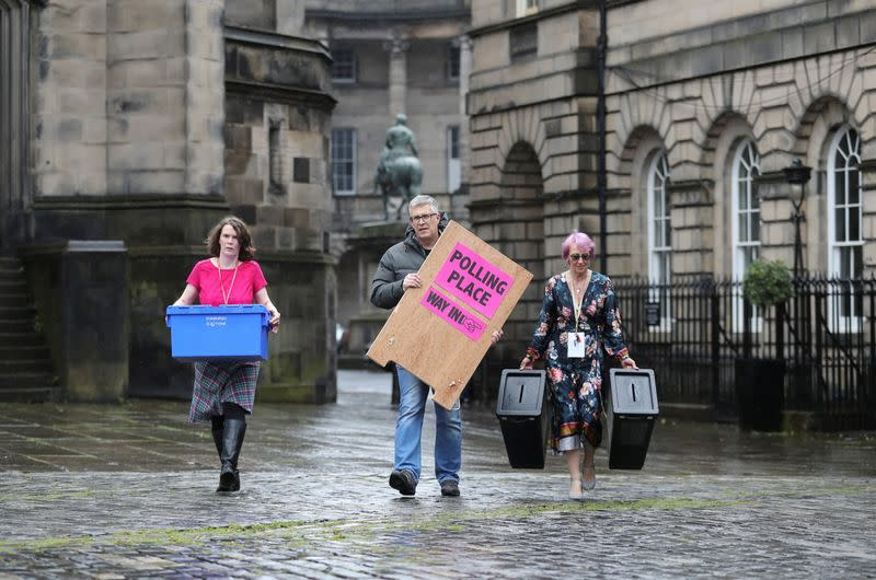 Preparations for Scottish parliamentary election, in Edinburgh