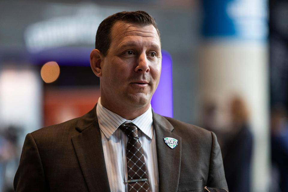 Western Michigan head football coach Tim Lester talks to reporters during the MAC football media day at Ford Field on Tuesday, July 20, 2021.