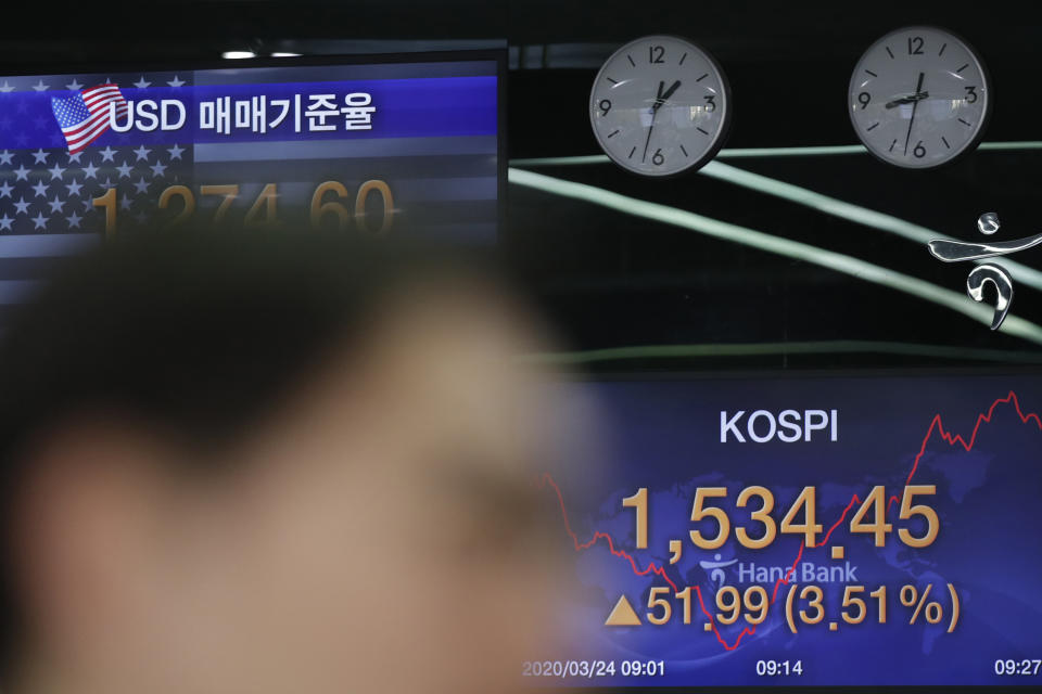 A currency trader watches computer monitors near screens showing the Korea Composite Stock Price Index (KOSPI), right, and the foreign exchange rate between U.S. dollar and South Korean won at the foreign exchange dealing room in Seoul, South Korea, Tuesday, March 24, 2020. (AP Photo/Lee Jin-man)
