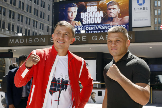 FILE - In this Aug. 22, 2019, file photo, Kazakhstan's Gennady Golovkin, left, and Ukraine's Sergiy Derevyanchenko, pose for photos after a news conference at New York's Madison Square Garden.Longtime middleweight champion Golovkin can regain one of his old belts when he faces Derevyanchenko on Saturday night. (AP Photo/Richard Drew, File)